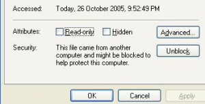Blocked file message